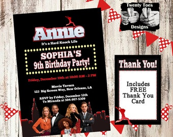 Annie the Movie 2014 Birthday Party Invitation, Flat Invite, Personalized, Customized, Printable