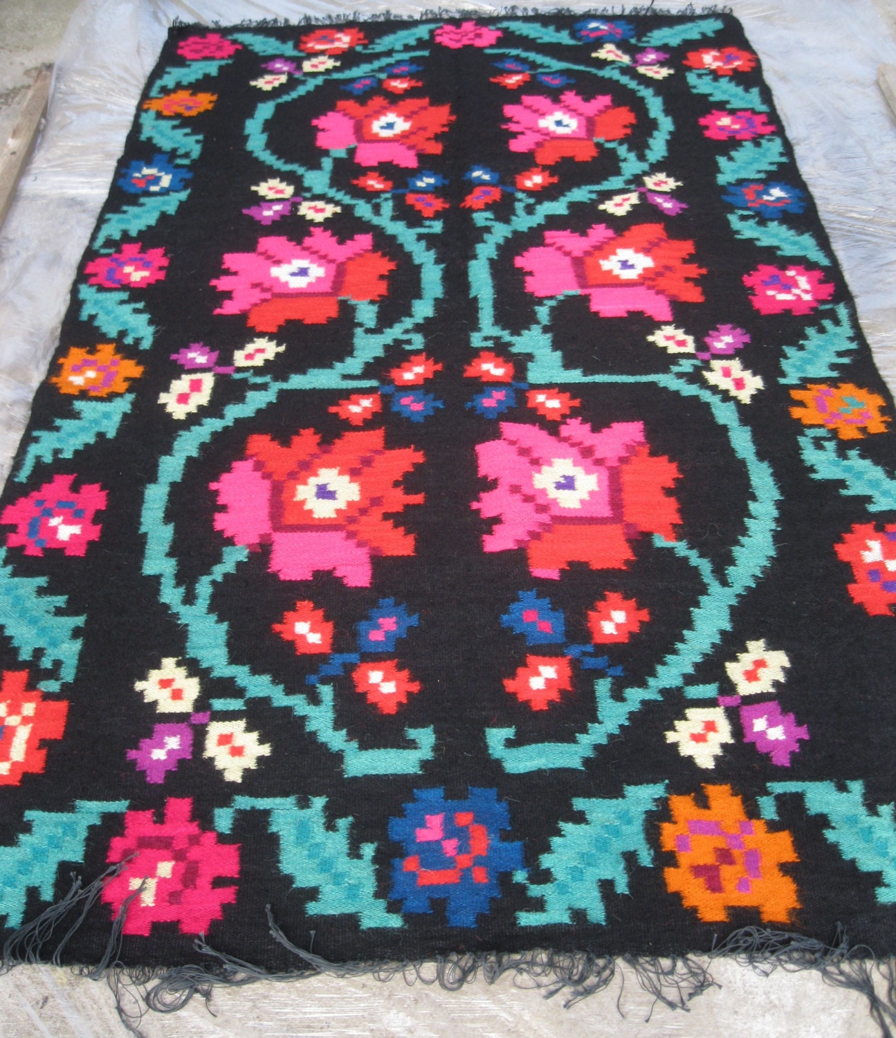 Antique Romanian Flat Weave Wool Rug Carpet Bessarabian