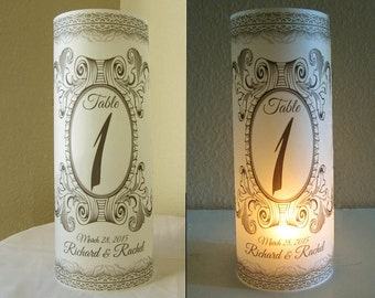 15 Personalized Wedding Anniversary Centerpiece Luminaries Table Number Decoration
