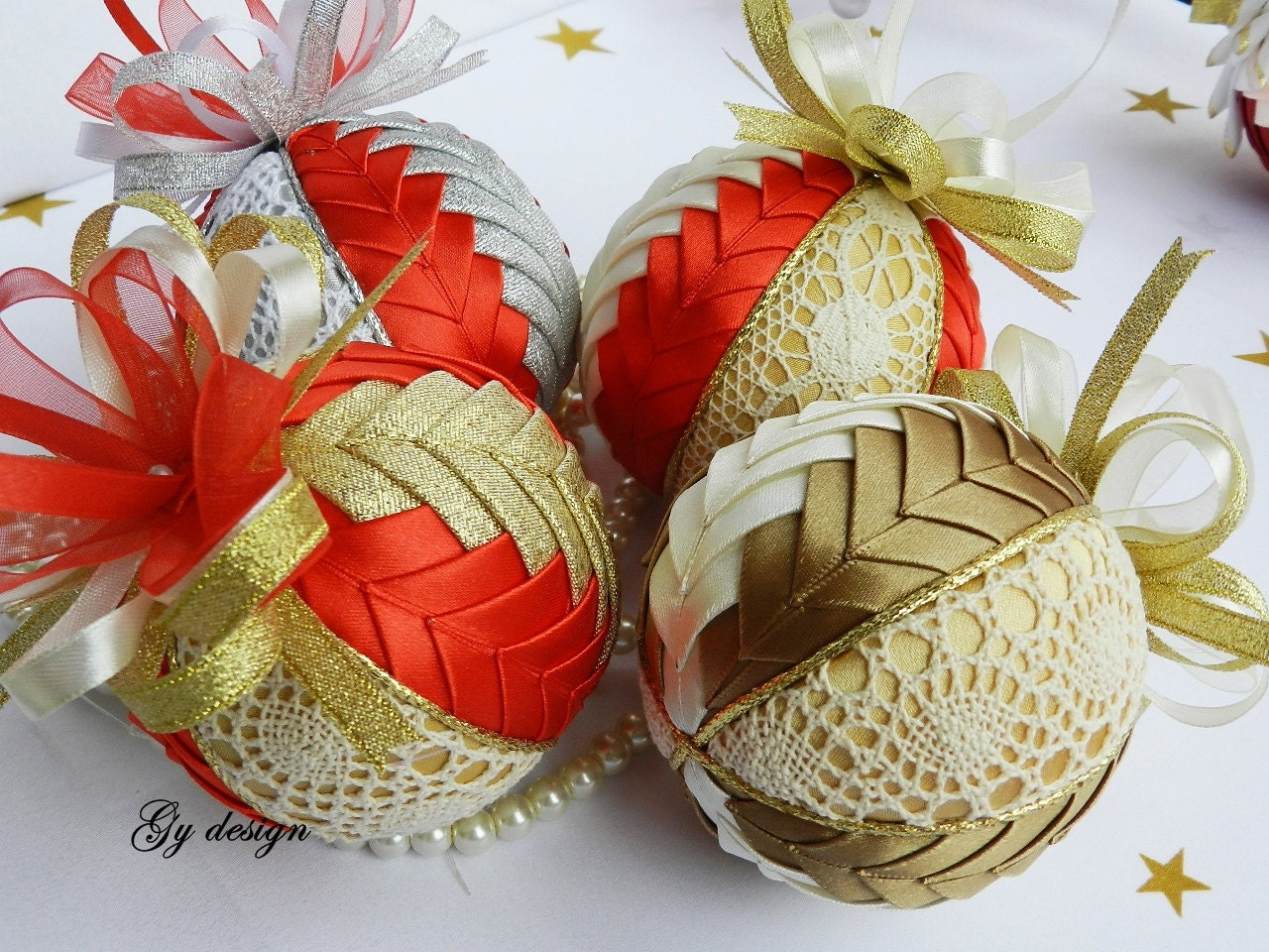 Lovely Lace Ornament Quilted Ornaments Xmas Baubles Christmas