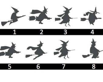 Halloween Witches on Broomsticks - Multiple Options - Home/Laptop/Computer/Phone/Car Bumper Sticker Decal