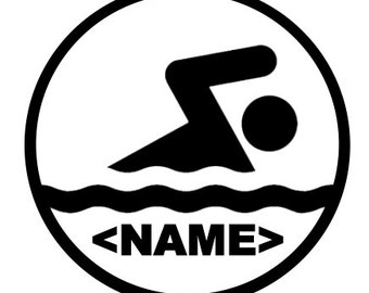 Swimmer Dude with Custom Name Option - Car/Truck/Computer/Phone/Home/Laptop Decal