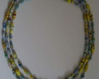 """22"""" Handcrafted Paper Bead triple strand necklace"""