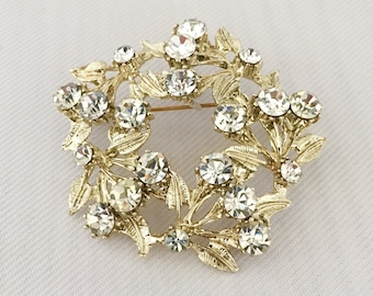 Vintage  Rhinestone Wreath Pin Light Gold Tone Metal - Bride, Wedding, Mother of the Bride, Bridesmaids