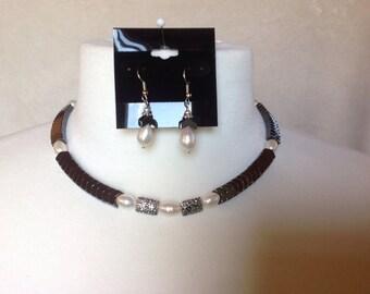 Hematite Chevron Necklace Set