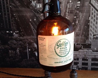 MADE TO ORDER••  Steampunk Industrial Fountain Drink Bottle Pipe Lamp