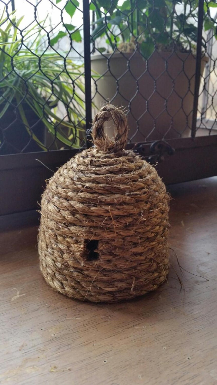 Handmade Primitive Mini Bee Skep Garden Wedding Decor