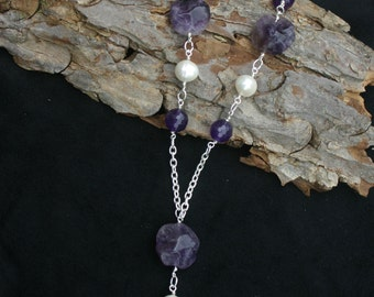 Handmade amethyst and freshwater pearl necklace with a drop