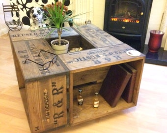 Rustic Crate Coffee Table on wheel casters. Farmhouse style.