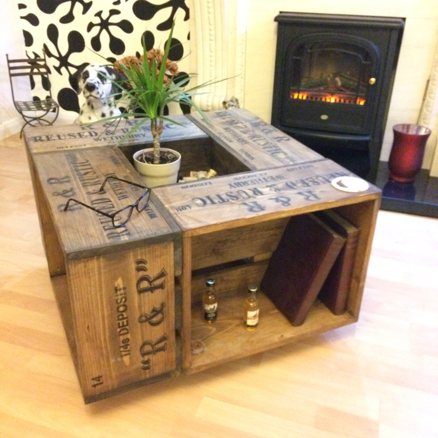Rustic crate coffee table on wheel casters farmhouse style zoom geotapseo Gallery