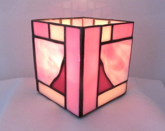 Pretty in Pink Stained Glass Candlebox