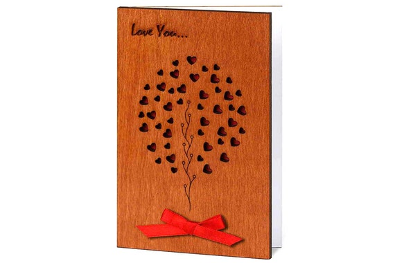 Five Year Wedding Anniversary Gifts: 5 Year Anniversary Wood Anniversary Card 5th By CardsWooden
