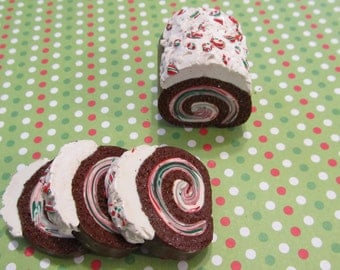 American Girl Doll Peppermint Whip Cream Cake Roll Christmas Polymer Clay Food