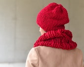 Red Beanie, Women's Winter Red Hat, Red Slouchy Beanie, Winter Hat, Grunge, Chunky, Warm hat