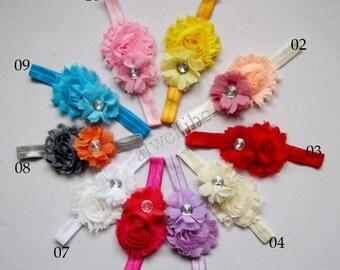 Shabby Flower Headbands, Baby Headbands, Elastic Headbands, Baby Girl Headbands
