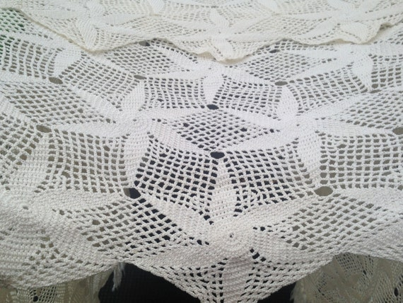 "CROCHET BEDSPREAD | Starfish Pattern | Large Size 192 x 120"" | Handmade"