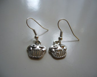 Cup Cake Earrings - Antique Silver Cup Cake Earrings - Cup Cake Charm Earrings - Miniature Cup Cake - Nickel Free