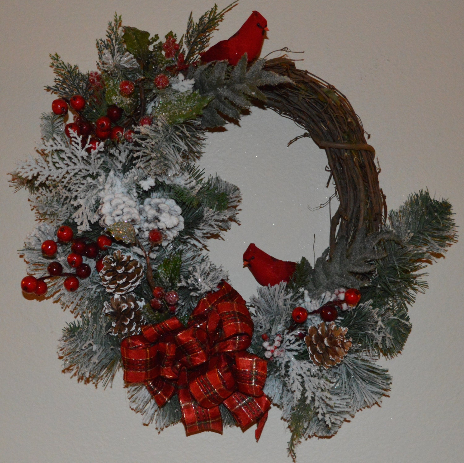 Christmas wreath red cardinal wreath holiday by thebloomingwreath