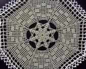 Olive green octagonal crochet doily