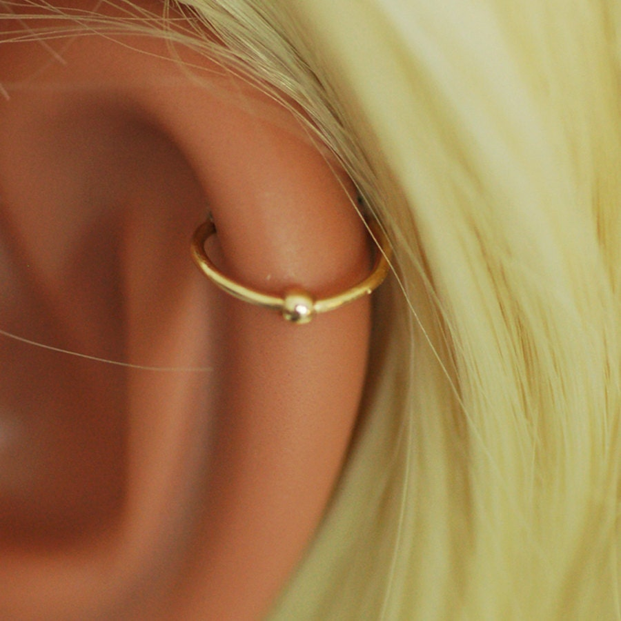 Tiny Hoop Gold Earring Helix Small Bead Ball Cartilage