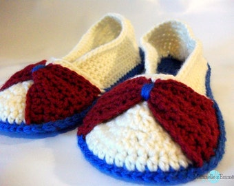 ready to ship crochet red bow slippers size 9-10