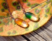The Medicines for Autumn,A Pair of Capsule Pendants,Fused Glass and Copper,Citrine&Emerald Green Glass,Clear Glass