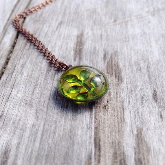 Plum Twig Cutout Pendant,Fused Glass and Copper,Peridot glass
