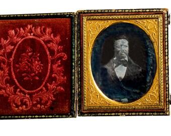 daguerreotype of bearded man seated  circa 1850