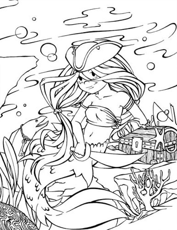 items similar to pirate mermaid digital stamp coloring page on etsy