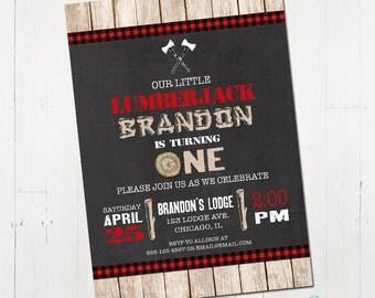 Lumberjack Birthday Invitation, Lumberjack Invite, Printable lumberjack invitation, rustic, timber invitation, lumberjack party, printable