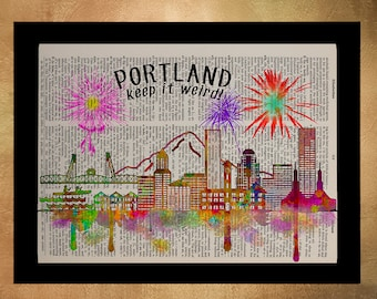 Portland Oregon Skyline Dictionary Art Print Pdx Silhouette Watercolor Upcycled Book Wall Art Home Decor da679