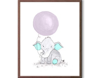 Baby Nursery Art, Elephant Nursery Decor, New baby Gift, Kids Room Art, Wall Art for Baby Nursery, E463