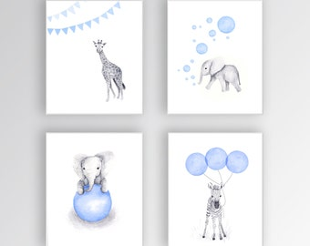 Baby Boy Nursery Art, Canvas Art, Blue and Gray Nursery, Elephant Nursery, Safari Animals, Set of Four Canvases - S404