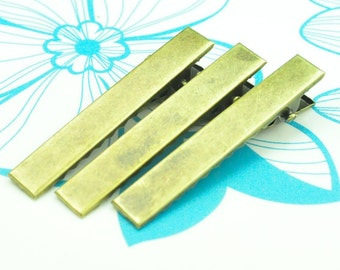 Wholesale 50PC Antiqued Bronze Hair Clips/Head Clips Aligator Clipps Metal Findings--46x7mm.