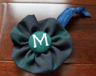 """School Uniform Pony Tail Holder with Mini Flower and Embroidered Cover Button (Upcycled)- The """"Caroline"""" Standard AS SHOWN"""