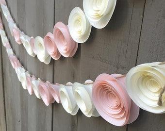 Paper Flower Garland Pink & Cream white for Wedding, Reception, Bridal Shower, Baby Shower - Peach Pink Ivory white Paper Flower Streamer