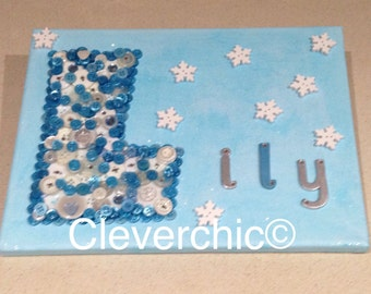 Button Art Name Canvas 12x9""