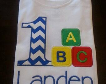 ABC Birthday Shirt // Boys ABC 123 Birthday Shirt // ABC Birthday Theme