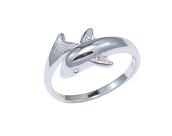 925 Sterling Silver Delicate Sterling Silver Dolphin Ring Size 7