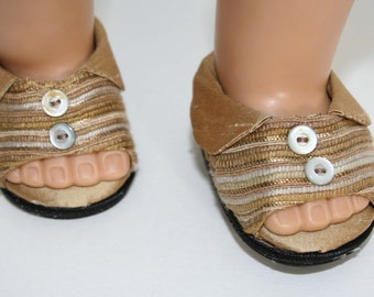 """Silk gold club collared shoes  fit American Girl and other 18"""" Dolls"""
