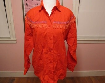 Vintage Western Shirt - Red Fringed Western Shirt / Blouse - Sz. Lg