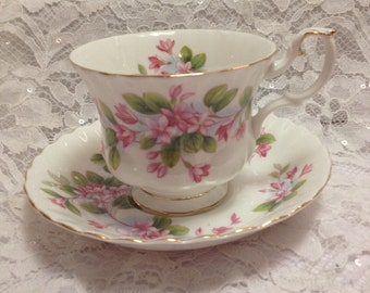 "Vintage Royal Albert Bone China Tea Cup and Saucer in the Montrose Shape and ""Mayflower"" Design."