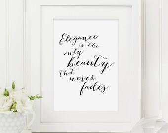 Audrey Hepburn Quote Typography Print, Elegance Quote, Typography Art for the Home, A4 or 8x10