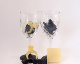 Chalkboard Wine Glass Soap Favors