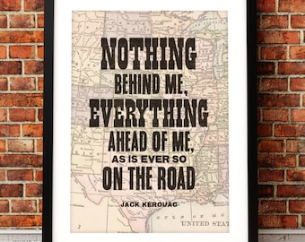 Jack Kerouac quote print, On The Road print, literary art print, Jack Kerouac print, typographic print, On The Road, literary inspired print