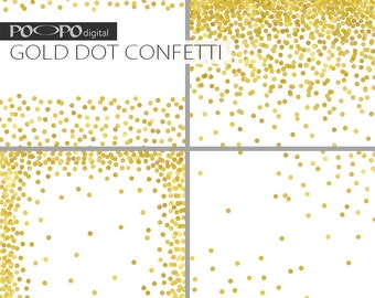 Gold Dot digital paper invitation paper Christmas wedding invites card supplies crafts dotted background frames labels confetti glitter DIY