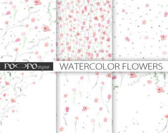 flowers watercolor digital paper art design card making pink red invitation template wedding save the date scrapbooking graphic hand painted