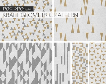 Kraft scrapbook digital paper white brown gray grey neutral supplies printable geometric pattern for cards instant download blog texture
