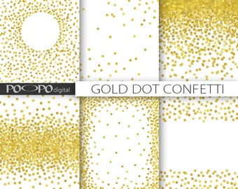 8,5 x 11 gold dot confetti digital paper invitation template overlay png format scrapbooking birthday invites party supplies card decoration