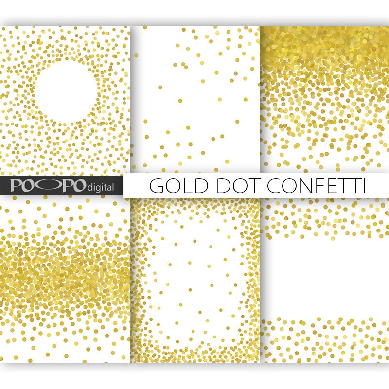 85 X 11 Gold Dot Confetti Digital Paper Invitation Template